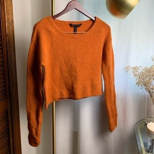 BCBGMaxAzria Cashmere Burnt Orange Cropped Sweater